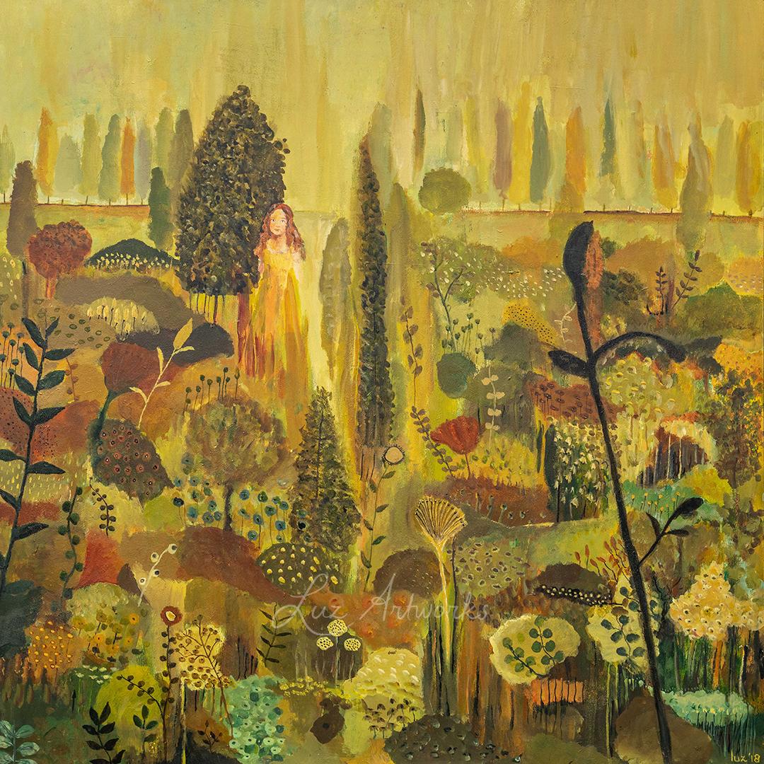 foto van het schilderij The garden of my soul van Marloes Bloedjes