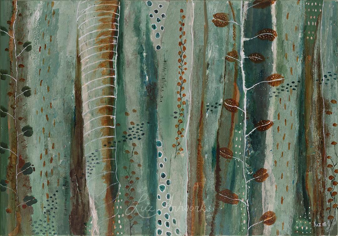 Deze afbeelding laat het schilderij ''Autumn Leaves' van Marloes Bloedjes zien.