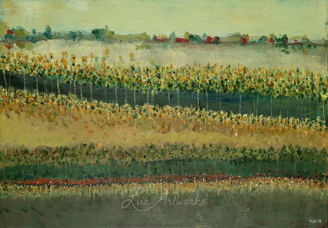 foto van het schilderij Green View van Marloes Bloedjes