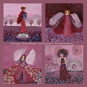 Deze afbeelding bevat een overzicht van de wenskaarten Angels - Pink.