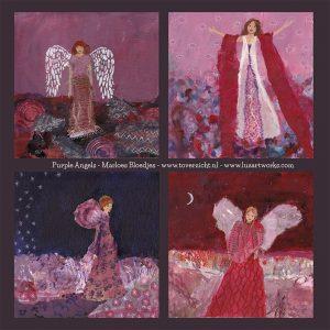 Deze afbeelding bevat een overzicht van de wenskaarten Angels - Purple.