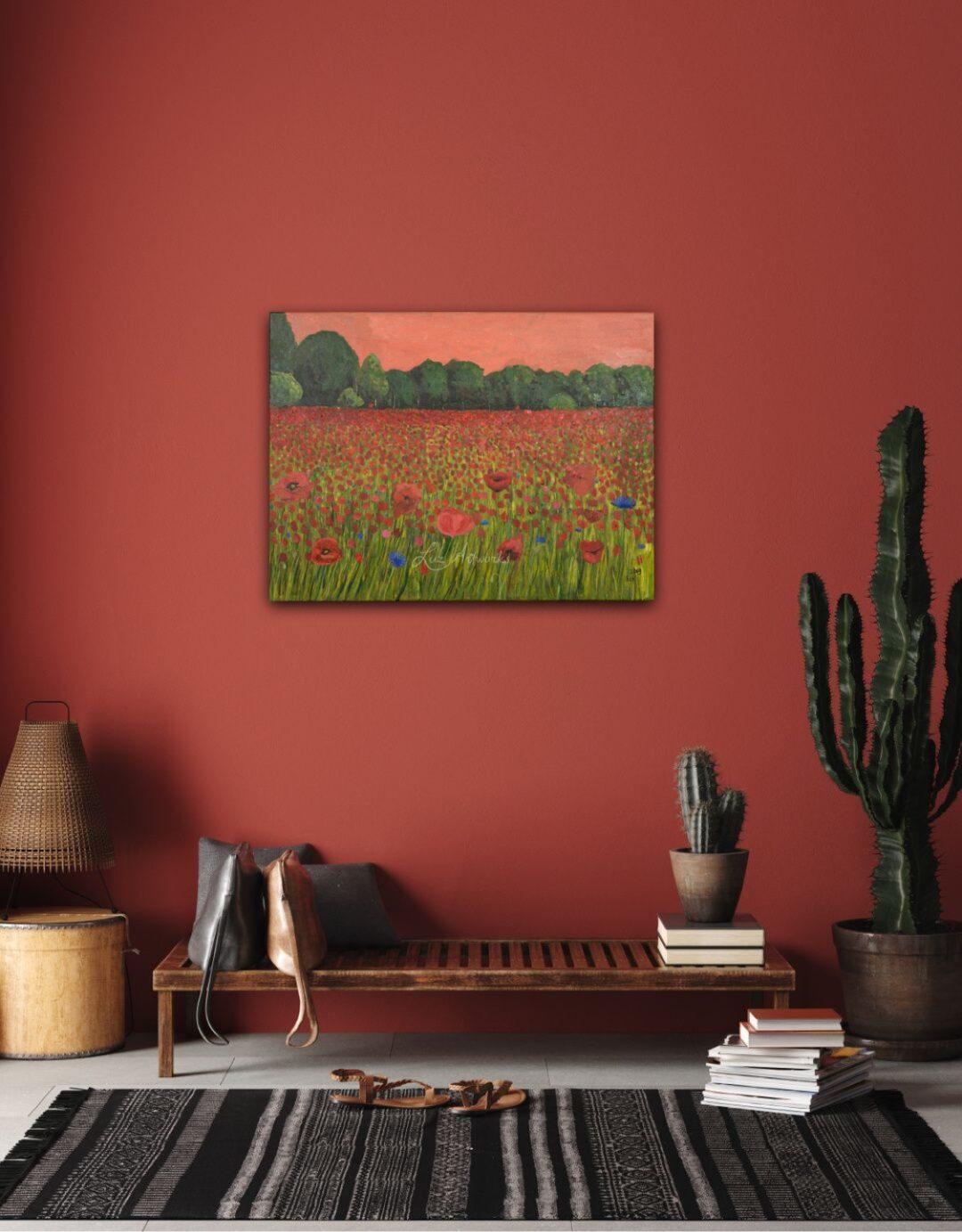Schilderij Klaprozenveld door Marloes Bloedjes aan de muur