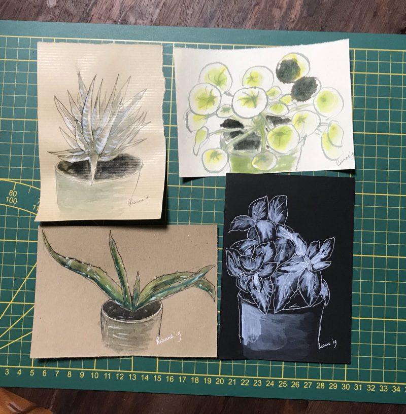 Voorbeeld van de Workshop Huiskamerplantjes Schilderen
