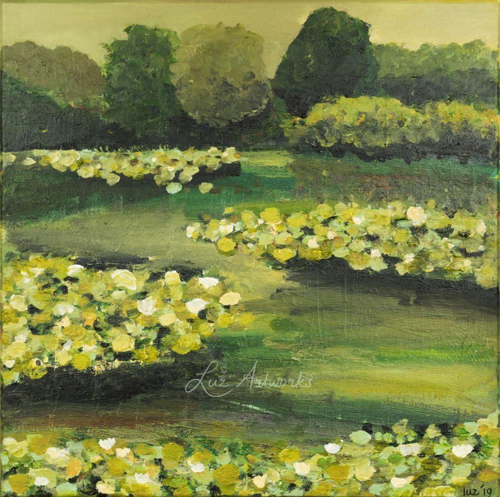 Schilderij Waterlelies 2019 door Marloes Bloedjes