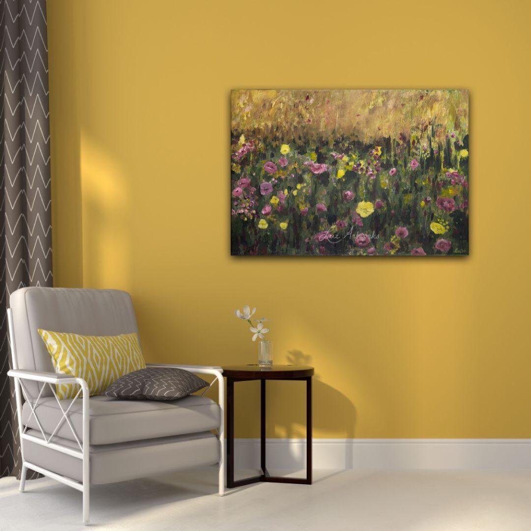 Deze afbeelding toont het schilderij 'Roze en paars bloemenveld' door Marloes Bloedjes