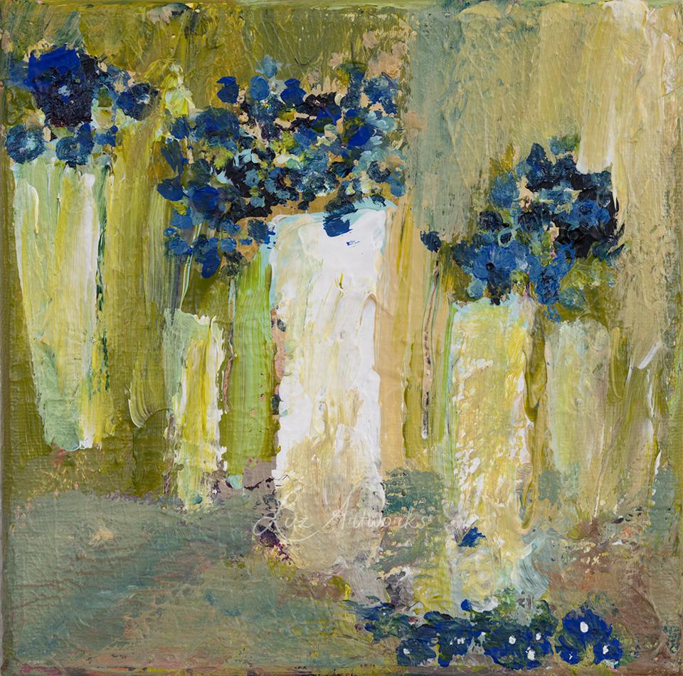 Schilderij Abstracte vazen met blauwe bloemen door Marloes Bloedjes