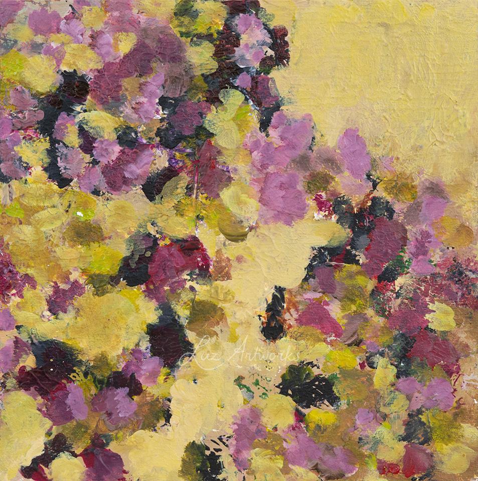 Deze afbeelding laat het schilderij Bloesems 1 van Marloes Bloedjes zien.