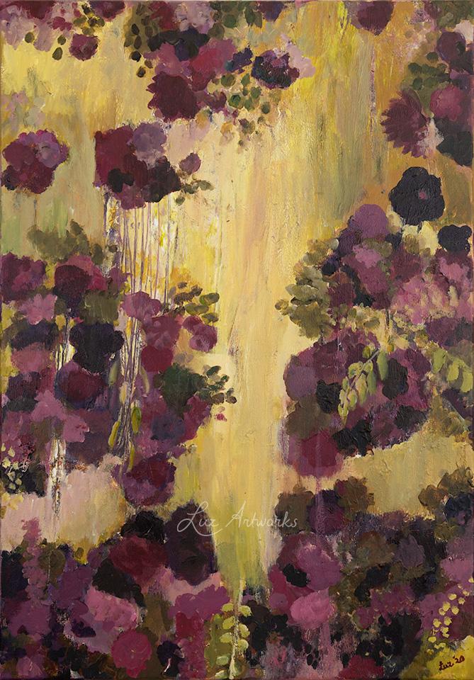 Deze afbeelding laat het schilderij Droombloemen (rechts) zien, geschilderd door Marloes Bloedjes.