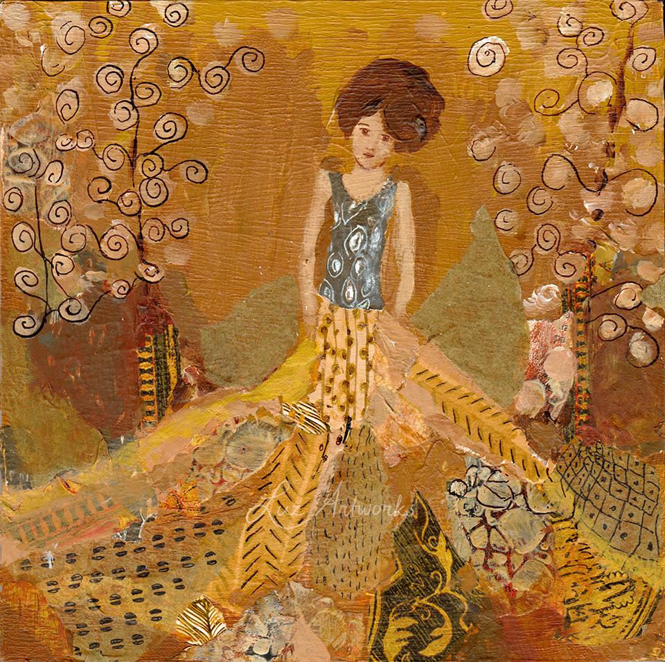 Deze afbeelding toont het schilderij 'Klimt engel geel' door Marloes Bloedjes.