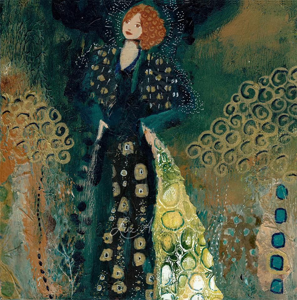 Deze afbeelding toont het schilderij Klimt engel blauw van Marloes Bloedjes