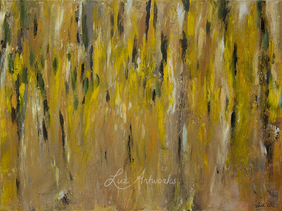 Deze afbeelding toont het schilderij 'Gouden Regen' door Marloes Bloedjes.