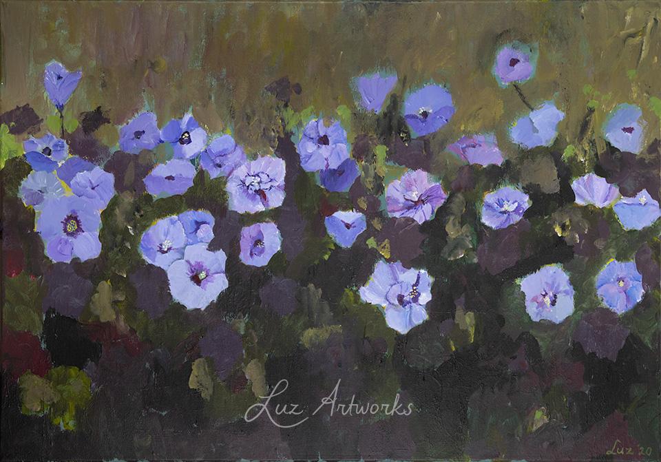 Deze afbeelding toont het schilderij Hibiscus van Marloes Bloedjes.