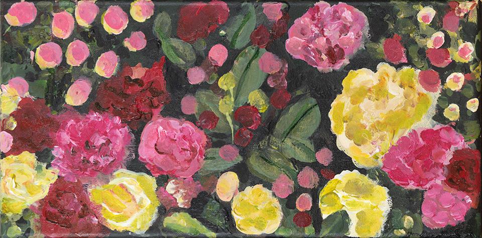 Deze afbeelding laat het schilderij Mini Rose Garden door Marloes Bloedjes zien.