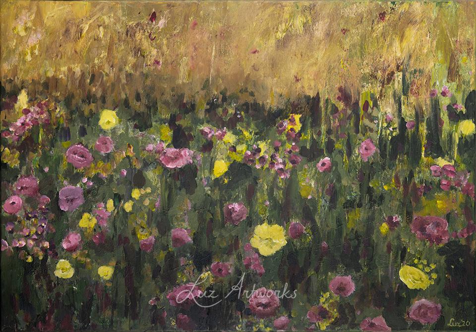 Schilderij Roze en paars bloemenveld door Marloes Bloedjes