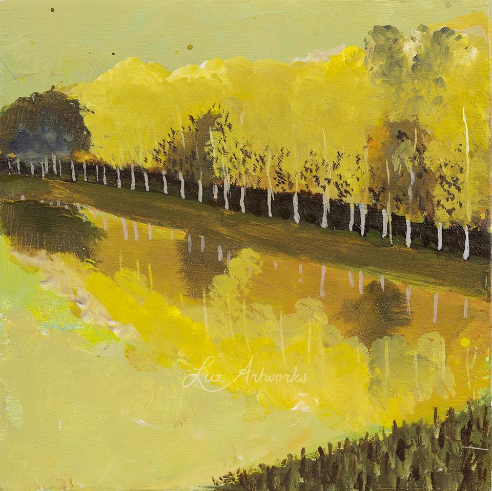 Deze afbeelding toont het schilderij Row of Trees uit de serie Trees in the Light door Marloes Bloedjes