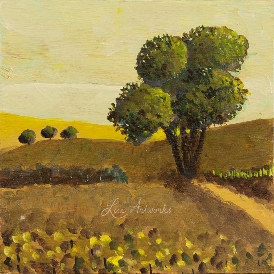 Deze afbeelding toont het schilderij Solitary Tree uit de serie Trees in the Light door Marloes Bloedjes.