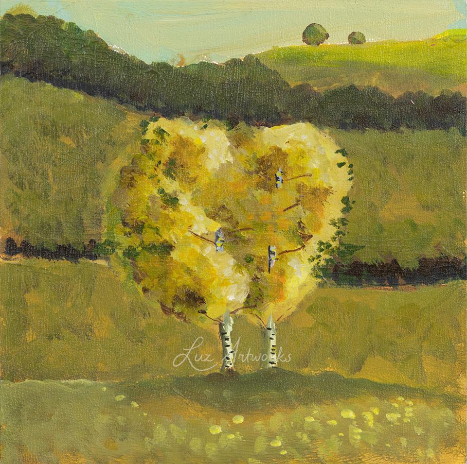 Deze afbeelding toont het schilderij Two Birch Trees uit de serie Trees in the Light door Marloes Bloedjes.