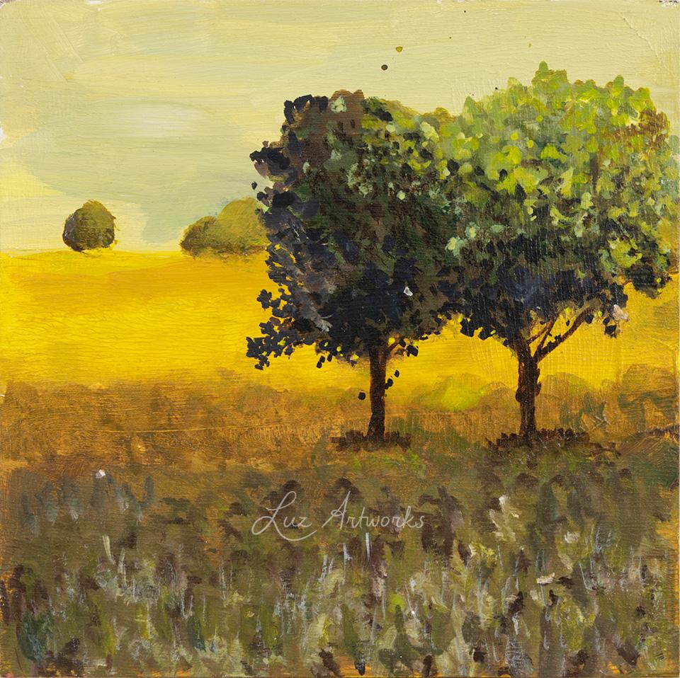 Deze afbeelding toont het schilderij Two trees in the hills uit de serie Trees in the light door Marloes Bloedjes.