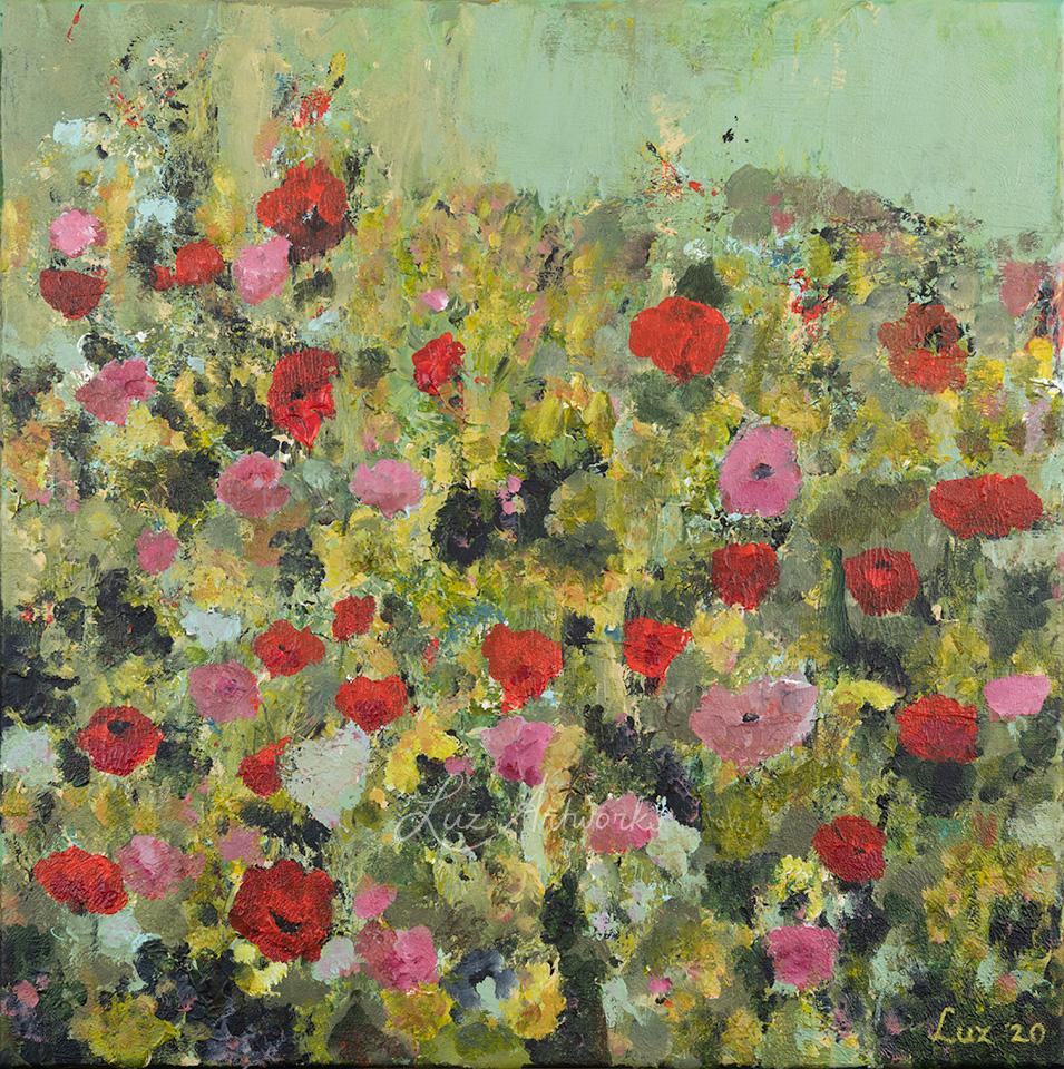 Schilderij Veld met wilde bloemen door Marloes Bloedjes