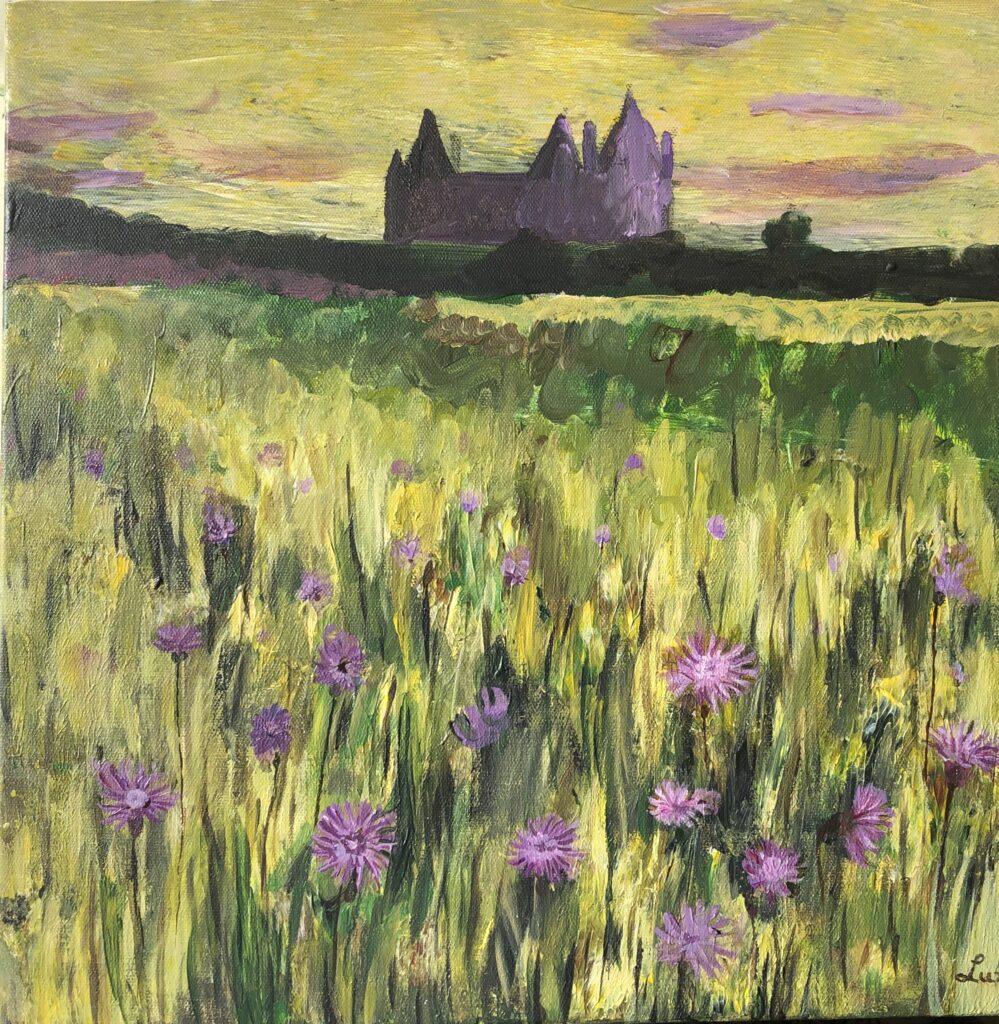 Deze afbeelding laat het schilderij roze korenbloemen bij kasteel Assumburg zien