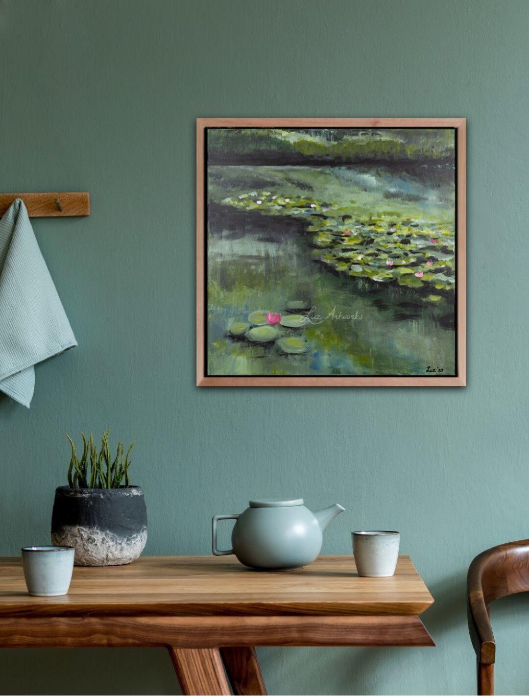 Deze afbeelding toont het schilderij \Waterlelies 2020' door Marloes Bloedjes.