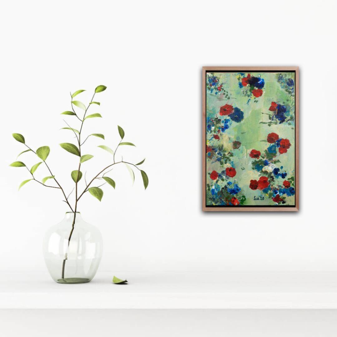 Schilderij Blauwe en rode bloemen door Marloes Bloedjes