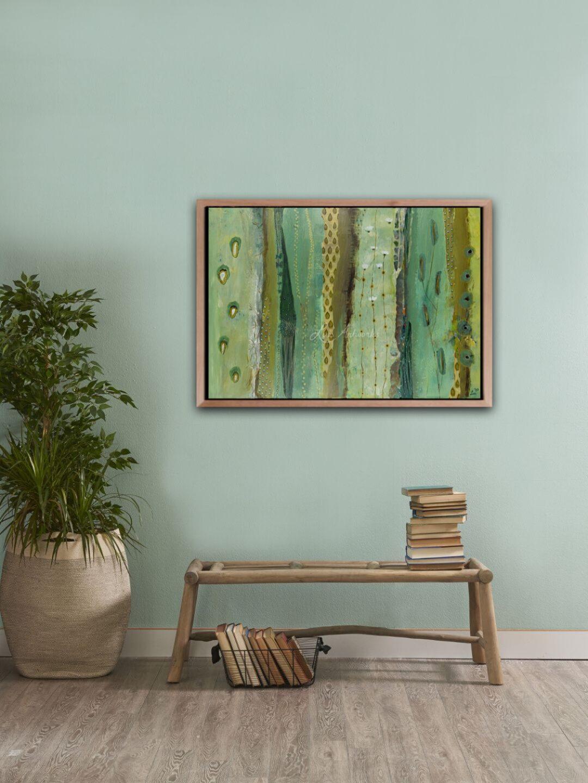 Schilderij Drops of Joy van Marloes Bloedjes aan de muur.