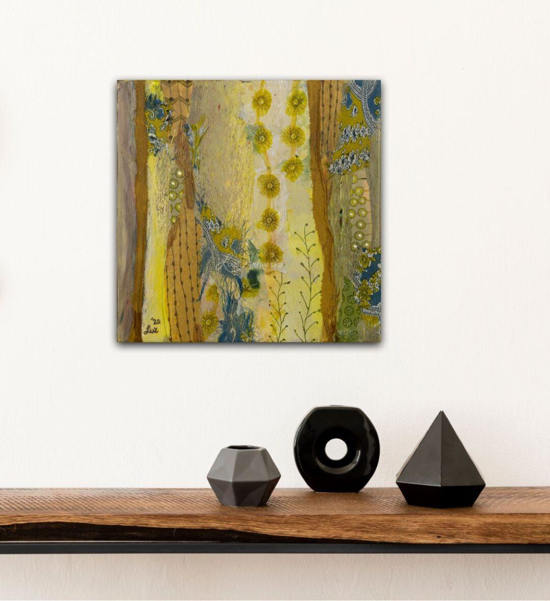 Schilderij Patronenparadijs Geel door Marloes Bloedjes