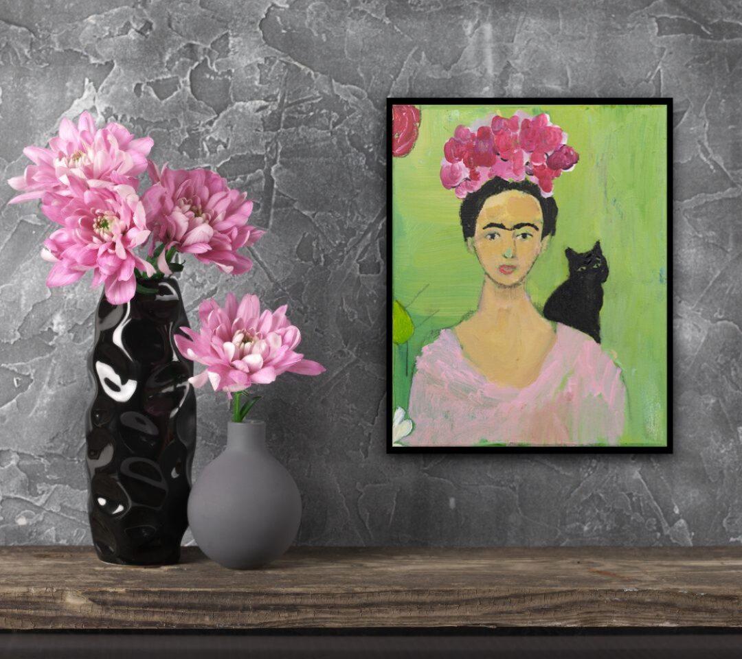 Studie van Frida Kahlo met zwarte kat door Marloes Bloedjes
